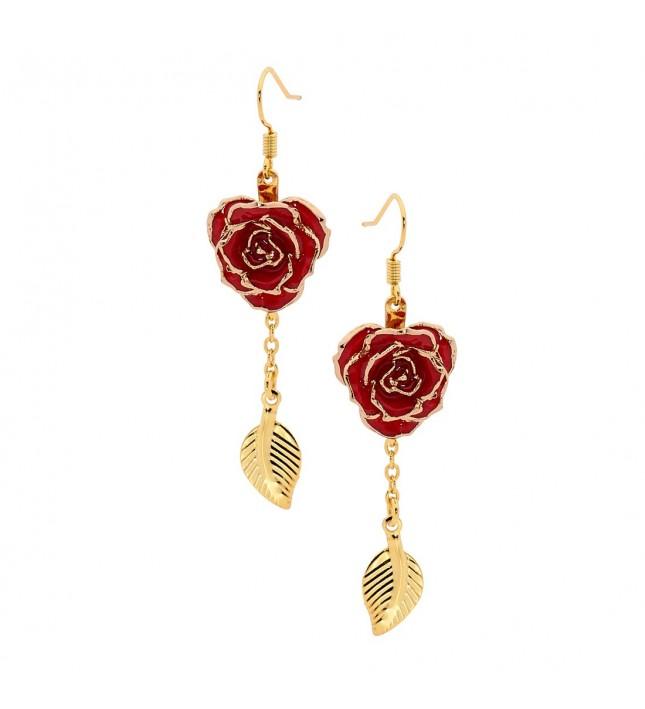 Rot glasierte Rosenblütenohrringe. Blatt-Design