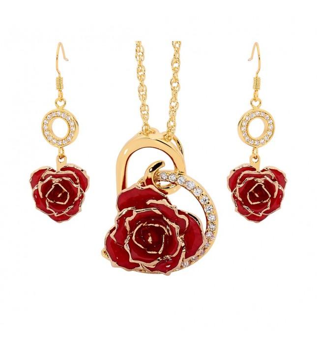 Rot glasierter Rosenblütenanhänger & Ohrringe. Herz-Design