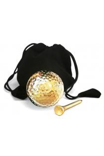 Vergoldeter Golfball & Tee-Set. Nur zur Anzeige
