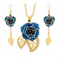 Vergoldete Rose mit blauem Schmuckset. Blatt-Design