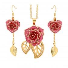 Vergoldete Rose mit rosa Schmuckset. Blatt-Design