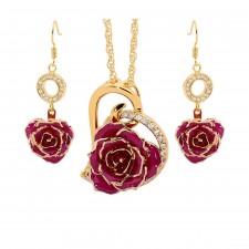 Vergoldete Rose mit lila Schmuckset. Herz-Design