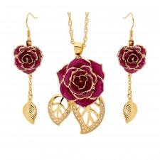Vergoldete Rose mit lila Schmuckset. Blatt-Design