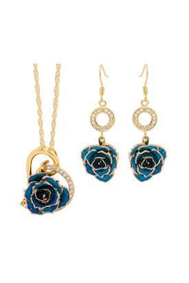 Blau glasierter Rosenblütenanhänger & Ohrringe. Herz-Design