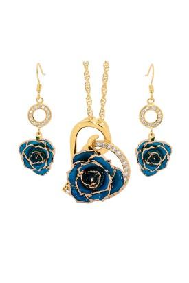 Vergoldete Rose mit blauem Schmuckset. Herz-Design