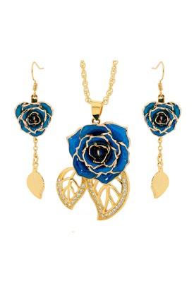 Blau glasierter Rosenblütenanhänger & Ohrringe. Blatt-Design