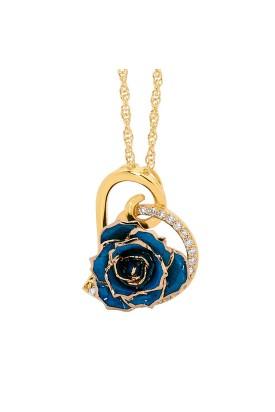 Blau glasierter Rosenblütenanhänger. Herz-Design