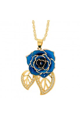 Blau glasierter Rosenblütenanhänger. Blatt-Design