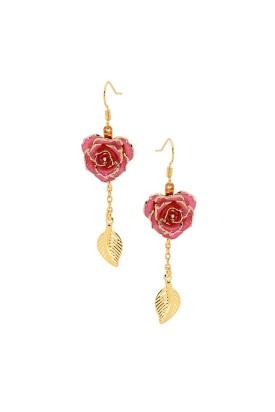 Rosa glasierte Rosenblütenohrringe. Blatt-Design