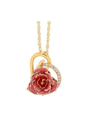Rosa glasierter Rosenblütenanhänger. Herz-Design