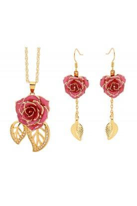 Rosa glasierter Rosenblütenanhänger & Ohrringe. Blatt-Design