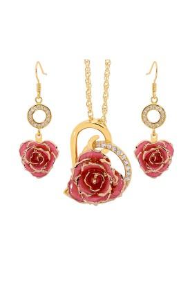Rosa glasierter Rosenblütenanhänger & Ohrringe. Herz-Design
