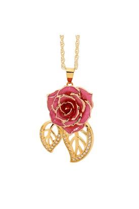 Rosa glasierter Rosenblütenanhänger. Blatt-Design