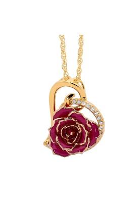 Lila glasierter Rosenblütenanhänger. Herz-Design