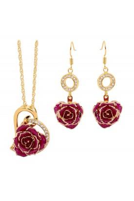 Lila glasierter Rosenblütenanhänger & Ohrringe. Herz-Design