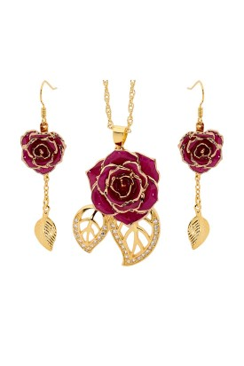 Lila glasierter Rosenblütenanhänger & Ohrringe. Blatt-Design