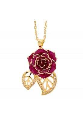 Lila glasierter Rosenblütenanhänger. Blatt-Design