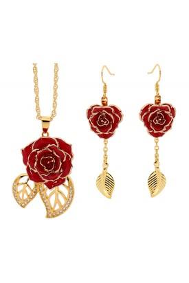Rot glasierter Rosenblütenanhänger & Ohrringe. Blatt-Design