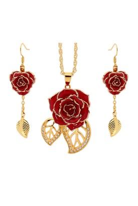 Vergoldete Rose mit rotem Schmuckset. Blatt-Design