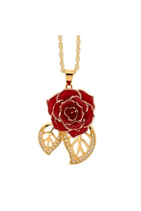 Rot glasierter Rosenblütenanhänger. Blatt-Design