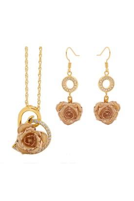 Weiß glasierter Rosenblütenanhänger & Ohrringe. Herz-Design