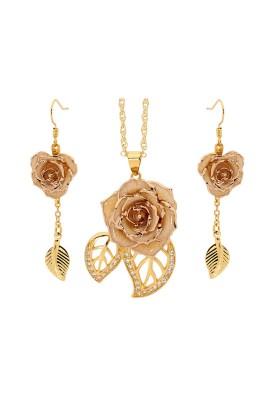 Weiß glasierter Rosenblütenanhänger & Ohrringe. Blatt-Design