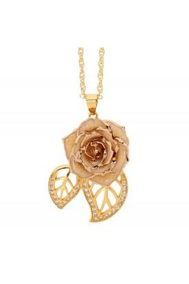 Weiß glasierter Rosenblütenanhänger. Blatt-Design